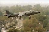 Harrier landing at Pebble Mill