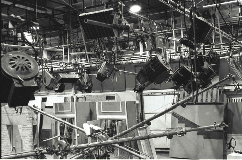 Photo of Studio A lighting gantry 1975, by Jim Gregory
