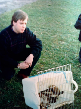 Rupert Segar with rabid fox caught in Nancy. Countryfile 1990. Mick Murphy dir. CW