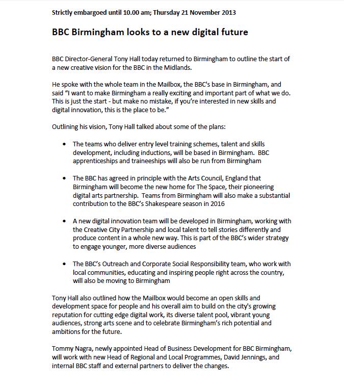 BBC Birmingham Press Release