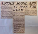 Unique Sound & TV Base for B'ham 1962