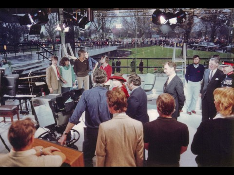 The Queen visiting the Pebble Mill at One foyer studio in 1981. Photo from Keith Brook.