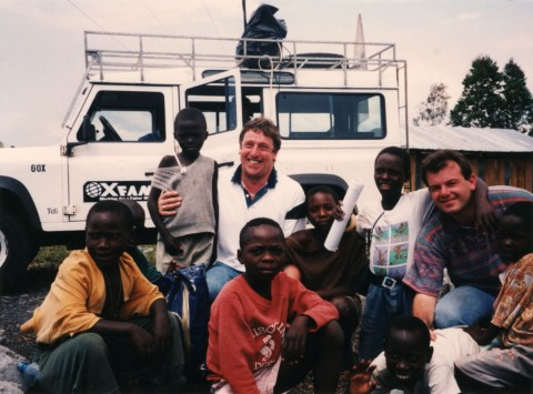 Rwandan OB, with cameraman Jim Knights