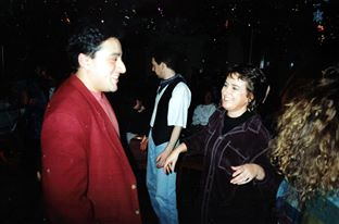 Presenter Mo Dutta dancing with producer Celia Marks