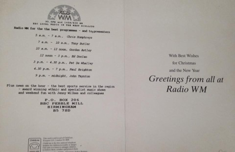 Radio WM Christmas card PdW