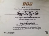 Lawrie Bloomfield retirement invitation