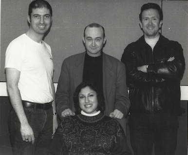 left to right: Clive Payne (presenter), Ian Wood (main presenter and producer), front Nermin Aaron (presenter), right Paul Flower (presenter)