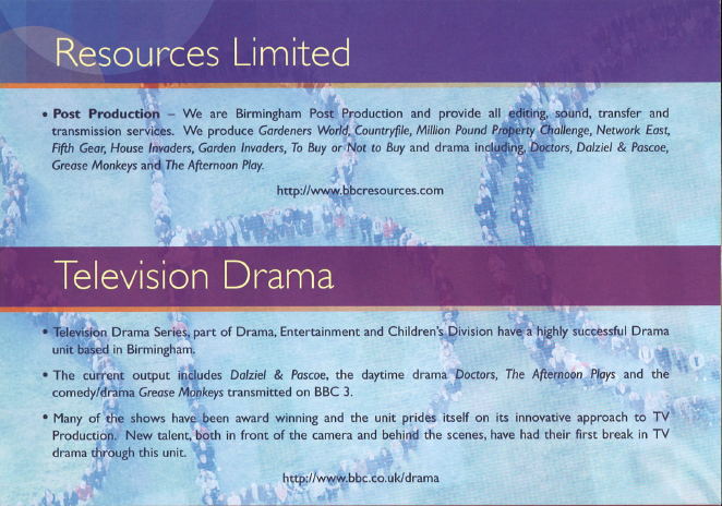 We are BBC Bham Drama, Resources