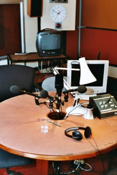 Radio Studio 5, home of Edwina Currie and Stuart Maconie. Photo by Martin Fenton.