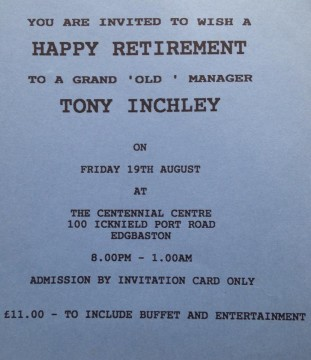 Tony Inchley retirement PdW