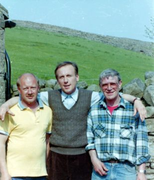 Kevin Lakin, Christopher Timothy and Terry Ford, on location in the Yorkshire Dales, for All Creatures Great and Small. No reproduction without permission.