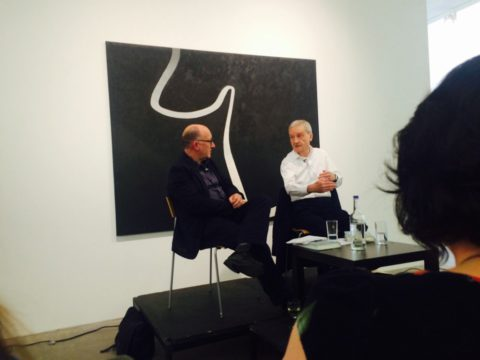 Roger Shannon and Tony Garnett in conversation. Copyright Flatpack