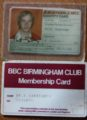Keith Warrender BBC Club Card